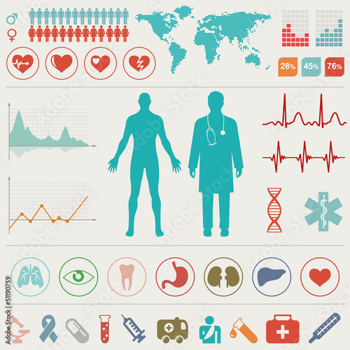 Fotografie, Tablou  Medical Infographic set. Vector illustration.
