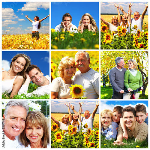 Happy family collage background. #51191744
