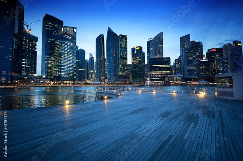 City on the water Singapore city in sunset time