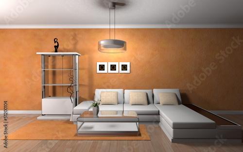 Wohndesign Regal Weiss Vor Orangener Tapete Buy This Stock