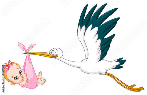 Stork and baby girl #51207115