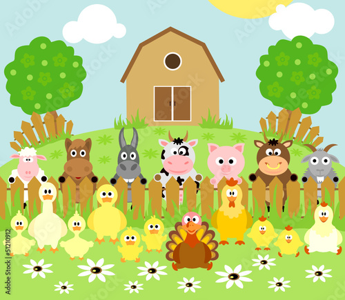 Wall Murals Ranch Farm background with funny animals