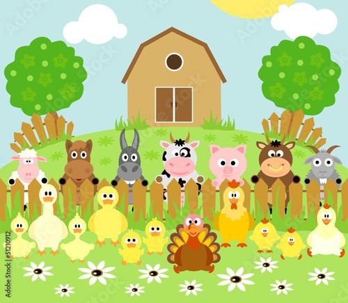 Spoed Foto op Canvas Boerderij Farm background with funny animals