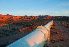 Pipeline In The Mojave Desert,...