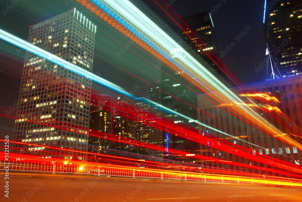 Fototapeta Long Exposure of bus in downtown Los Angeles.