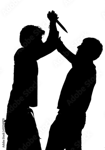 Silhouette of a an attack with a knife Canvas Print