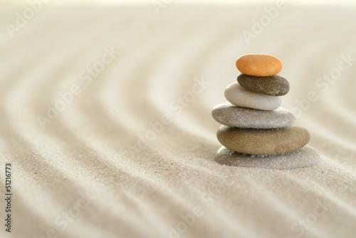 Poster Stenen in het Zand Spuren im Sand mit Steinpyramide
