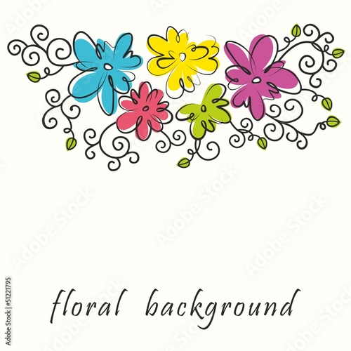 Poster Hibou Floral background. Bouquet of abstract flowers.