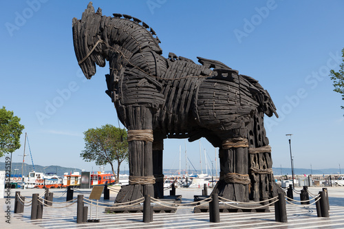 Poster Turquie The copy of Troy wooden horse at Canakkale, Turkey