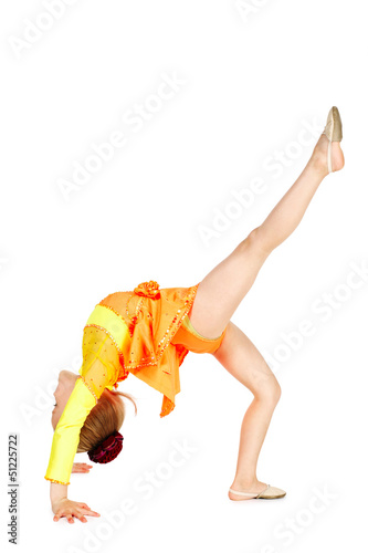 Little gymnast girl on white background