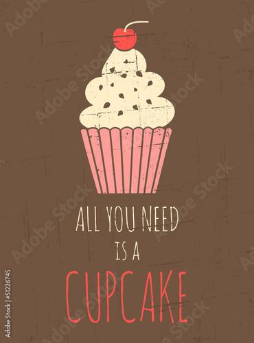 Retro Cupcake Poster Poster