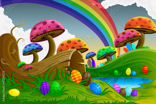 Deurstickers Magische wereld Easter Background