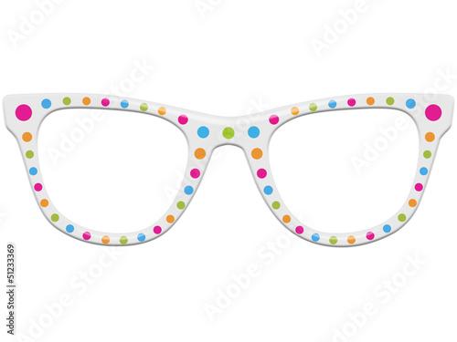 Fotografie, Obraz  Freigestellte Nerdbrille mit Punkten in frischen Frühlingsfarben