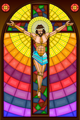 Naklejka Stained Glass Painting of Crucifixion