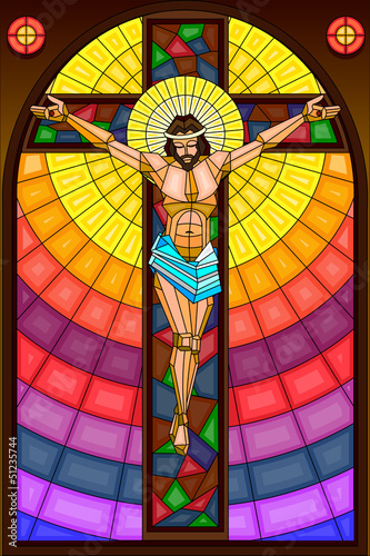 Fotografie, Obraz  Stained Glass Painting of Crucifixion