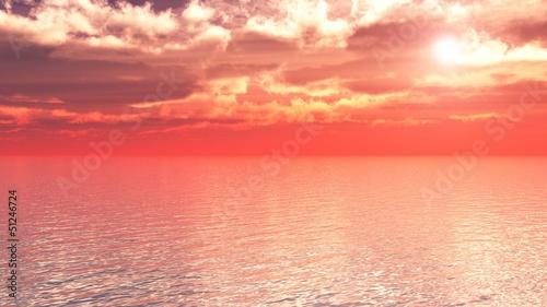 Papiers peints Corail soleil couchant sur mer
