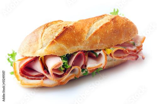 Staande foto Snack Ham and lettuce sandwich