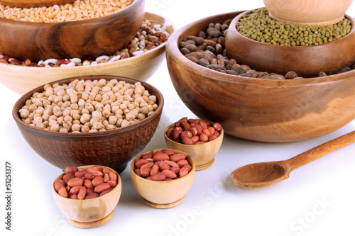 Canvas Prints Herbs 2 Different kinds of beans in bowls isolated on white