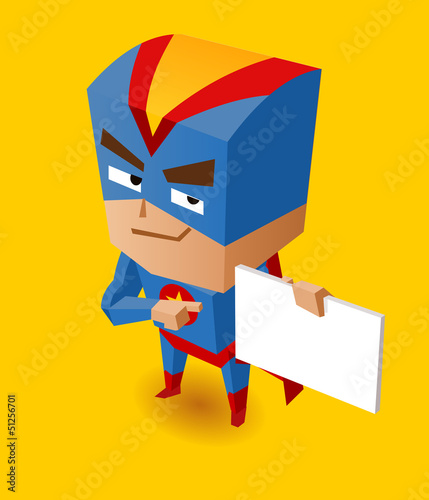 Staande foto Superheroes Superhero with sign board