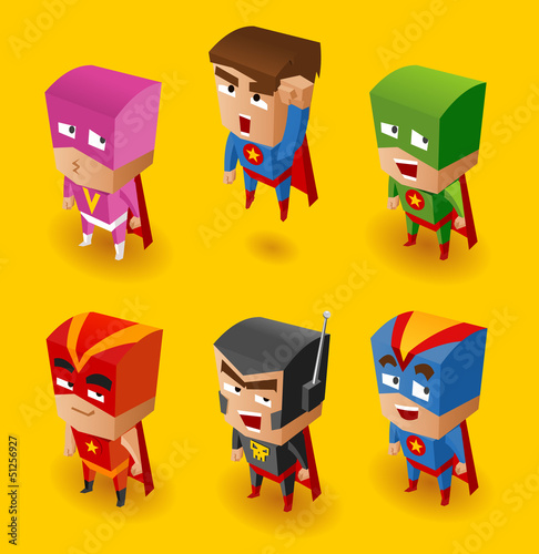 Photo sur Aluminium Super heros Superhero Set