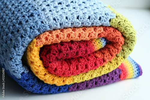Photo  rainbow crocheted blanket