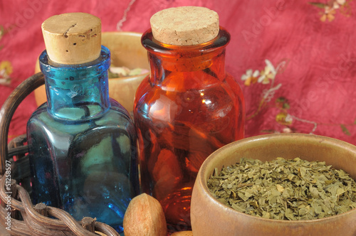Canvas Prints Pharmacy Vintage medical bottles and a mix of dry herbs