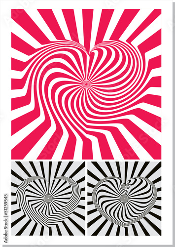 Wall Murals Psychedelic Heart optical illusion