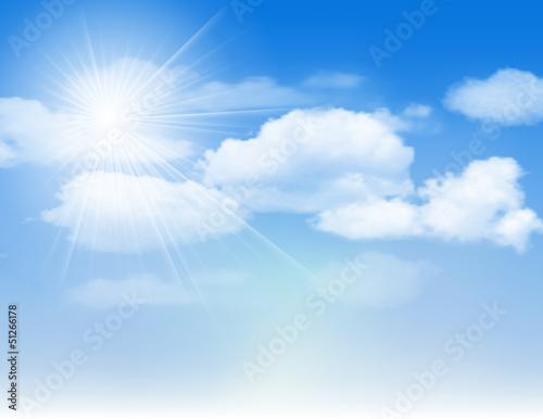 Papiers peints Ciel Blue sky with clouds and sun.