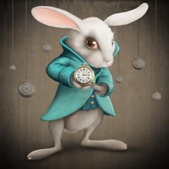 Obraz na płótnie Canvas white rabbit with clock