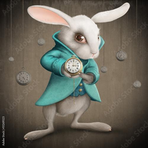 Fototapeta white rabbit with clock