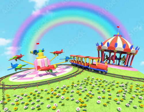 Photo Stands Rainbow parco divertimenti con arcobaleno