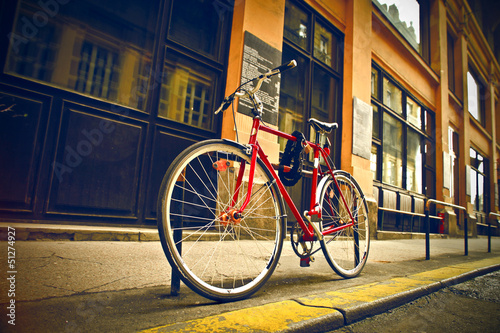 red bicycle on the street