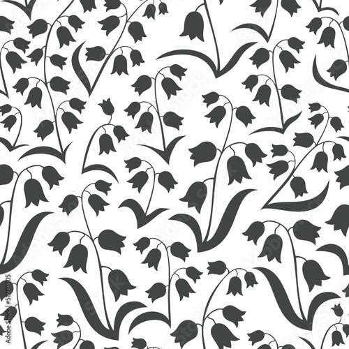 Fototapeta konwalie na białym tle monochromatyczna wiosenna łąka obraz