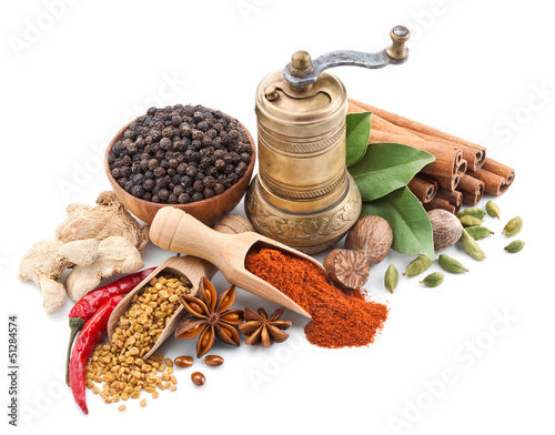 Canvas Prints Spices still life with spices and herbs isolated on white