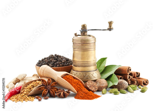 Küchenrückwand aus Glas mit Foto Gewürze spices and herbs isolated on white