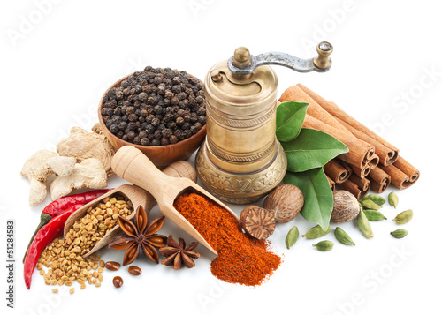 Fototapeten Gewürze composition with different spices and herbs isolated
