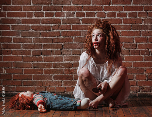 Photo Horror Themed Image With Bleeding Freightened Woman