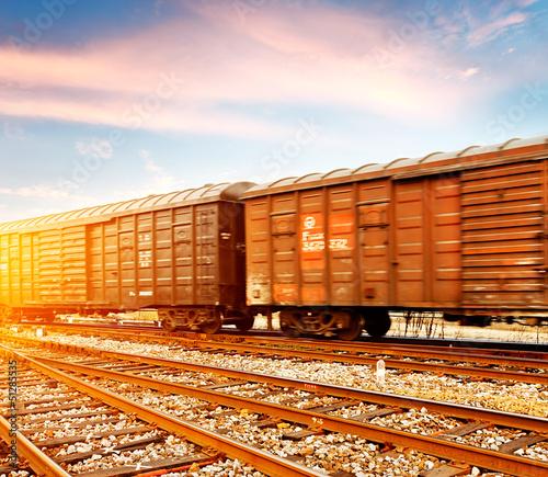 Fotografie, Obraz  Freight train motion blur