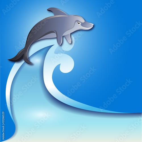 Poster Dolfijnen Dolphin on the wave
