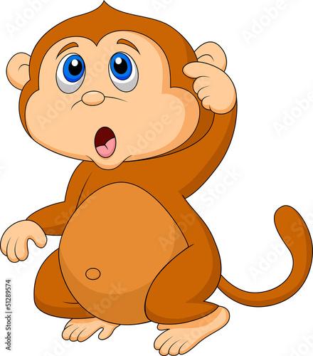 Poster de jardin Zoo Cute monkey cartoon thinking