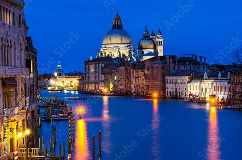 Stickers pour portes Venise Grand Canal of Venice by night