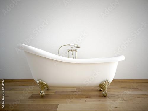 Fotografie, Obraz  badewanne mit weißer wand