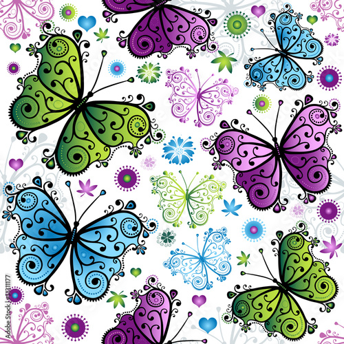 desen-kolorowe-motyle-na-bialym-tle