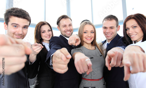Fotografía  Happy diverse group of executives all pointing at you