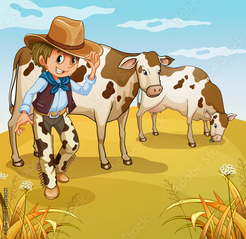 Papiers peints Ferme A cowboy with two cows eating