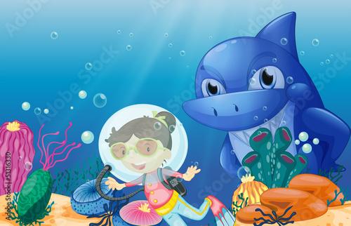 Canvas Prints River, lake A young scuba diver