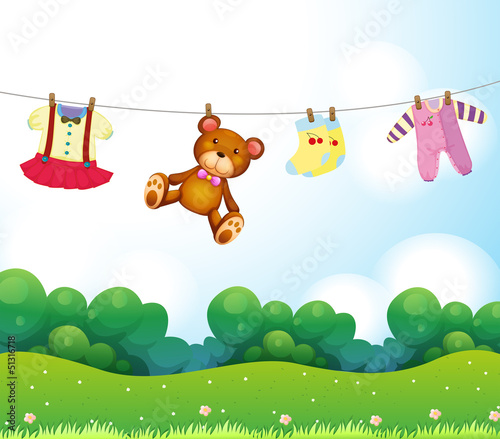 Baby things hanging