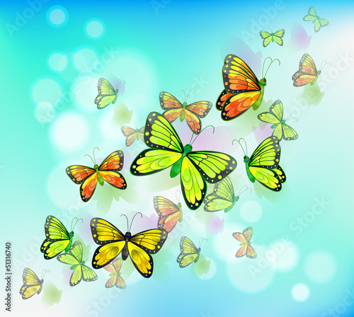 Staande foto Vlinders A blue colored stationery with butterflies