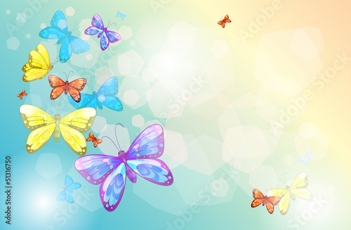 Poster Vlinders An empty stationery with butterflies