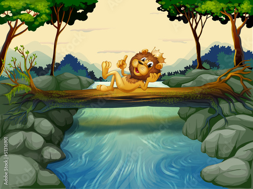 Canvas Prints River, lake A lion with a crown at the river